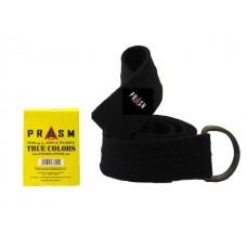 PRASM Unisex Solid Color D-Ring Canvas Belts - Black