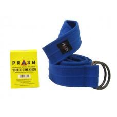 PRASM Unisex Solid Color D-Ring Canvas Belts - Blue