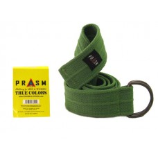 PRASM Unisex Solid Color D-Ring Canvas Belts - Bright Green