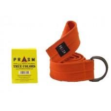 PRASM Unisex Solid Color D-Ring Canvas Belts - Bright Orange