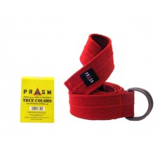 PRASM Unisex Solid Color D-Ring Canvas Belts - Bright Red