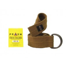 PRASM Unisex Solid Color D-Ring Canvas Belts - Brown