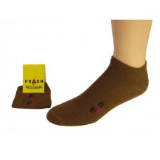 Men's No Show PRASM Low-Cut Ankle Socks - Brown (3-pack)