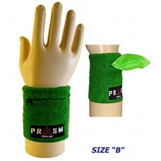 Cotton Zipper Pocket Wristband - Bright Green