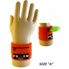 Cotton Zipper Pocket Wristband - Bright Orange