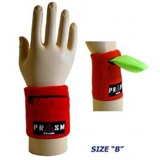 Cotton Zipper Pocket Wristband - Bright Red