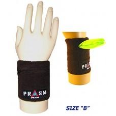 Cotton Zipper Pocket Wristband - Dark Brown