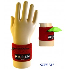 Cotton Zipper Pocket Wristband - Dark Red